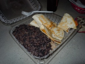 Shrimp Quesadilla with Rice and Beans on the side