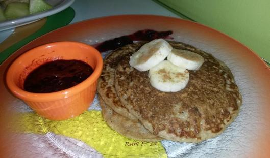 Banana Oatmeal Pancakes with Berry Compote