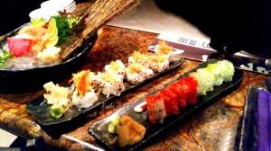 The Sashimi platter, Crispy Shrimp Classic Roll and a Kamikaze Samurai Roll