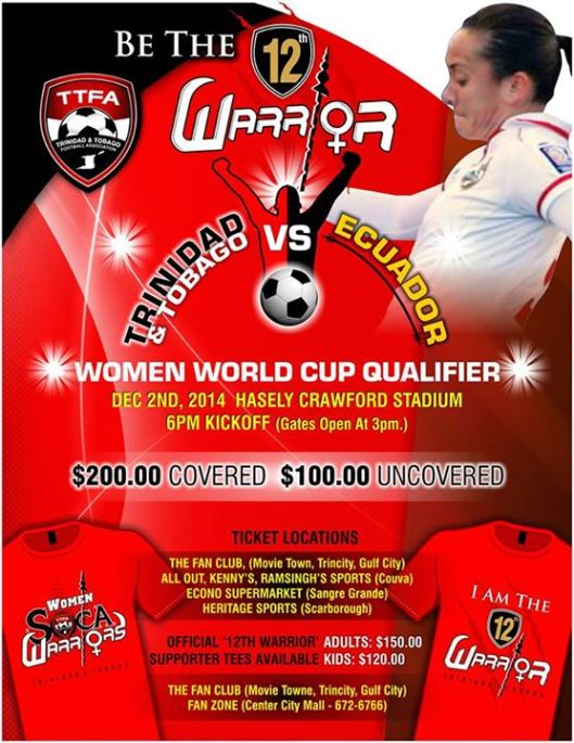 (From the Trinidad and Tobago Soca Warriors Facebook Timeline)