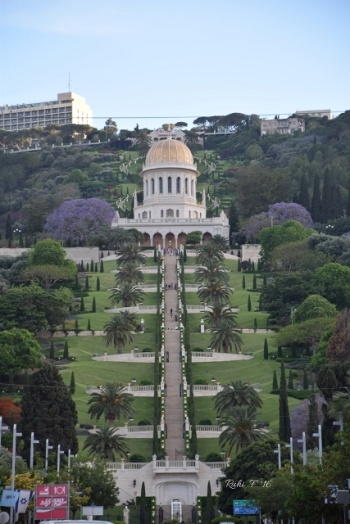 Ben Gurion Avenue, Haifa Israel, looking up at the Baha'i Gardens
